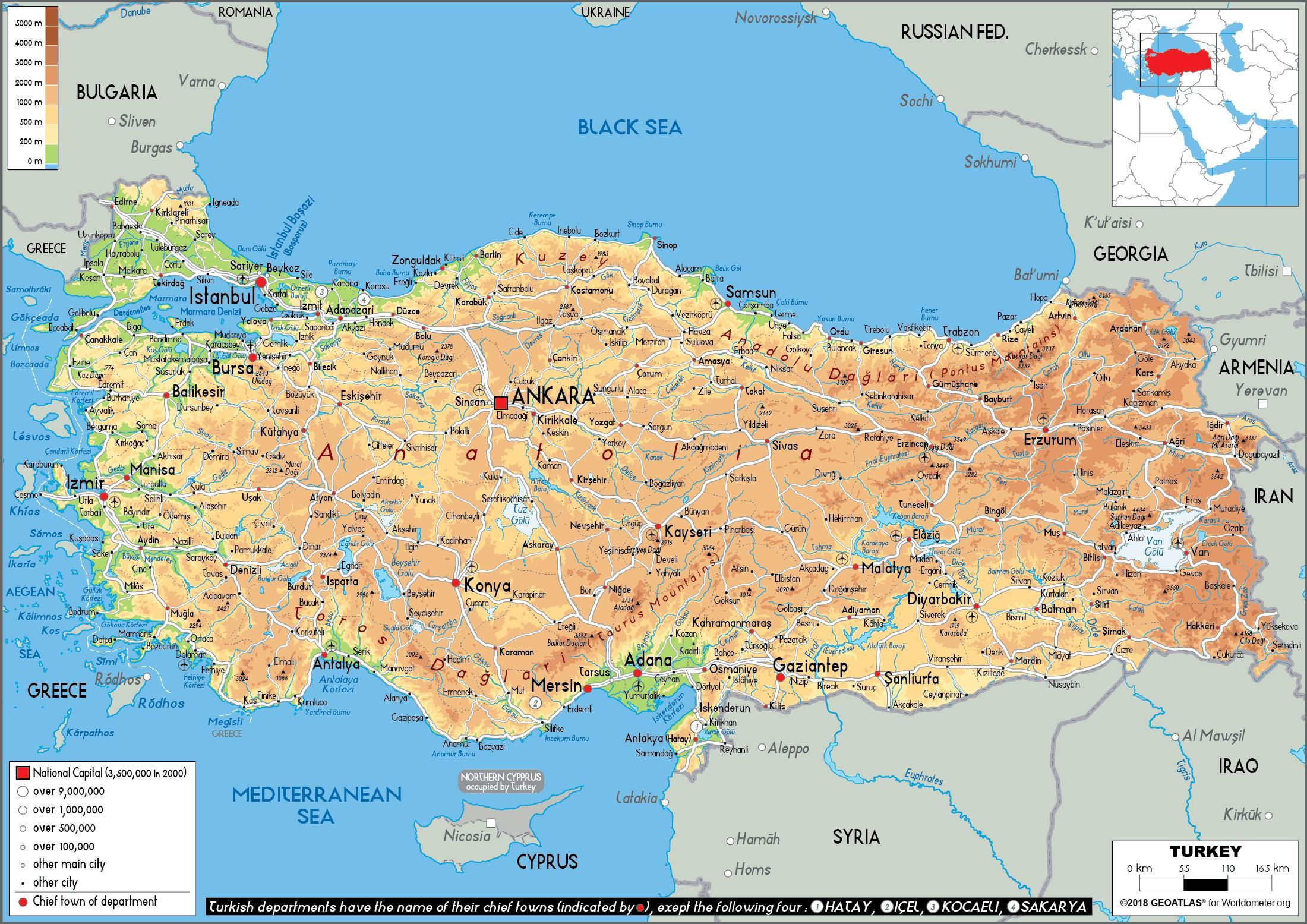 turska mapa Fizički mapu Turske   Mapa Turska fizički (Zapadna Azija   Aziji) turska mapa