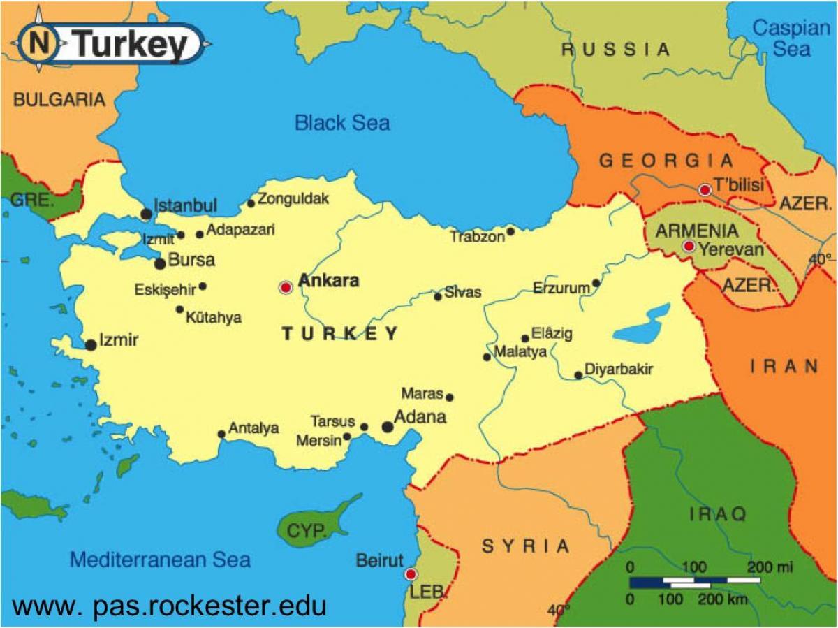 mapa turske Mapi Turske i granici zemalja   Mapa Turske i susjednim državama  mapa turske